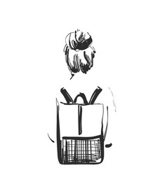 Fashion of girl with a backpack vector