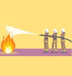 firefighters in helmets trying to extinguish fire vector image