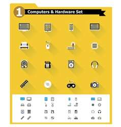 Flat computer hardware icon set vector