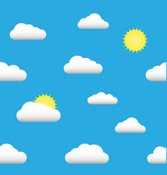 flat seamless pattern of the sun clouds vector image