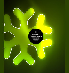 glowing winter snowflakes on dark christmas and vector image