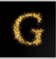 Gold glittering letter g on black background vector