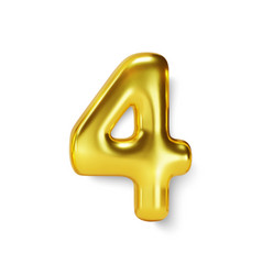 Golden number balloon 4 four realistic 3d vector