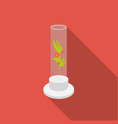 Grass in test tube icon flat single medicine icon vector