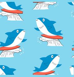 hand drawing shark seamless print design vector image