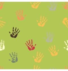 Hand palm ink splash print seamless background vector image