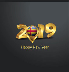 Happy new year 2019 golden typography with aland vector
