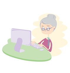 Happy Old Woman Using Computer vector image