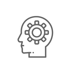 head with gear brain process knowledge think vector image