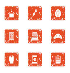 Home view icons set grunge style vector