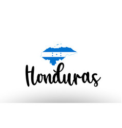 Honduras country big text with flag inside map vector