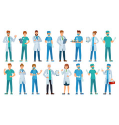 hospital staff clinic workers pharmacist nurse vector image