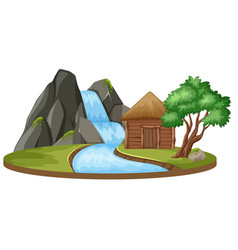 island with hut and waterfall vector image