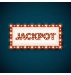 Jackpot banner with retro luminous frame vector image