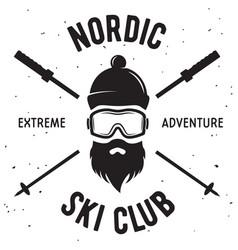 Label ski club vintage mountain winter badge vector