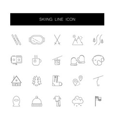 line icons set skiing pack vector image