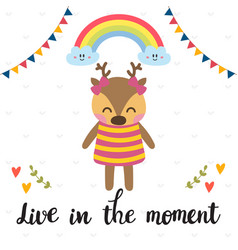 Live in the moment inspirational quote hand vector