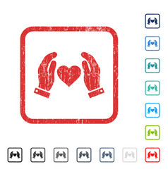 Love care hands icon rubber watermark vector