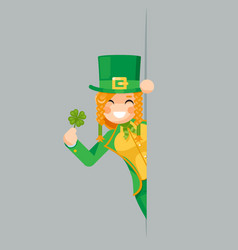 lucky clover in hand leprechaun gnome looking out vector image
