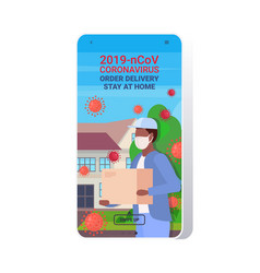 man courier in mask carrying parcel box vector image