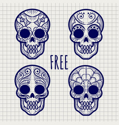 Mexican calavera skulls on notebook page vector