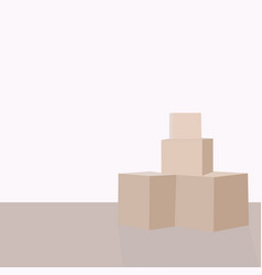 moving day pile of cardboard boxes on the floor vector image