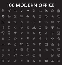 office editable line icons set on black vector image