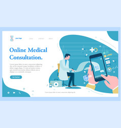 Online medical consultation smartphone call web vector