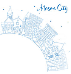 outline mason city iowa skyline with blue vector image