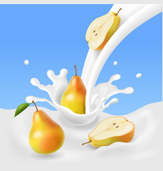 Pear falling into the milk splash vector
