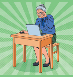 Pop art happy senior woman using laptop vector