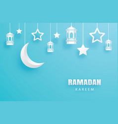 Ramadan kareem greeting card paper art background vector