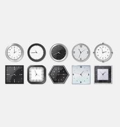realistic clock square and round metal and vector image