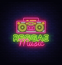 Reggae music neon logo neon sign vector