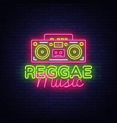Reggae music neon logo reggae neon sign vector