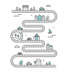 Road illudtrated map with town buildings vector