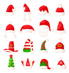 santa claus hat set isolated big vector image