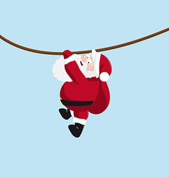 Santa hanging on the rope vector image