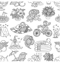 Seamless pattern with black and white drawings vector