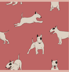Seamless pattern with bull terrier dog vector