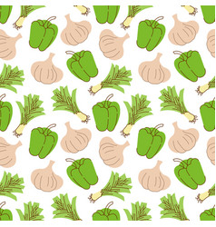 seamless pattern with garlic peppers lemongrass vector image