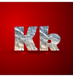 Set aluminum or silver foil letters letter k vector
