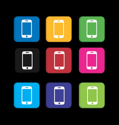 set colorful phone icon for smart phone vector image