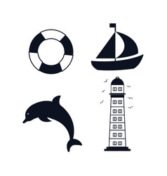 Set icons beach isolated vector