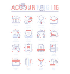 Set line flat icons accounting vector