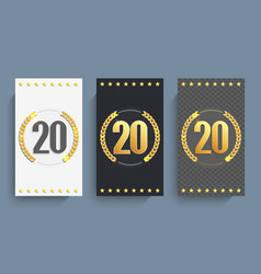 Set of 20th anniversary cards template vector