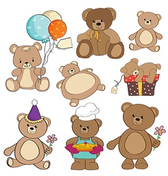 set of different teddy bears items for design in vector image