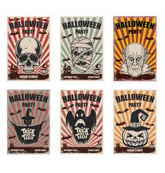 Set of halloween banner templates monster vector