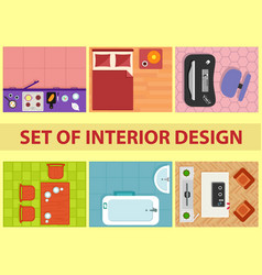 Set of interior design view from above vector