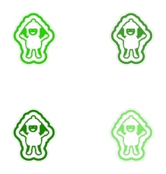 Set of paper stickers on white background child vector